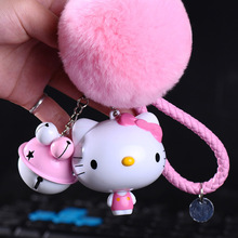 Cartoon Trolley Cat Hello Kitty Keychain Leather Rope Key Ring Fluffy Rabbit Fur Pompom Key Chains Metal Bell Bag Charm Gifts