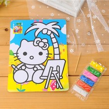2pcs/lot   DIY toy drawing student Large bottom sand painting Children's with 6 color sand educational toys for kids art gift