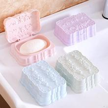 1Pc Portable Soap Dish Holder Elegant Rose Pattern Soap soap With Lid Travel Soap Dish Bathroom Accessories #45
