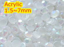 Jelly White AB Color 1.5~7mm All size Choice Flat Back Round Acrylic rhinestone,Acrylic 3D Nail Art / Garment Rhinestone