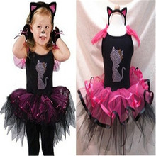 Nicoevaropa Halloween Girls Costume with Cat Headband Baby Kids Black and Hot Pink Tutu Dresses Children Fancy Dresses Vestido