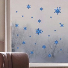Blue Snow For Frozen Wall Sticker Christmas Art Snowflake Decals Home Window Decor Gift DIY For Bedroom Kids Room