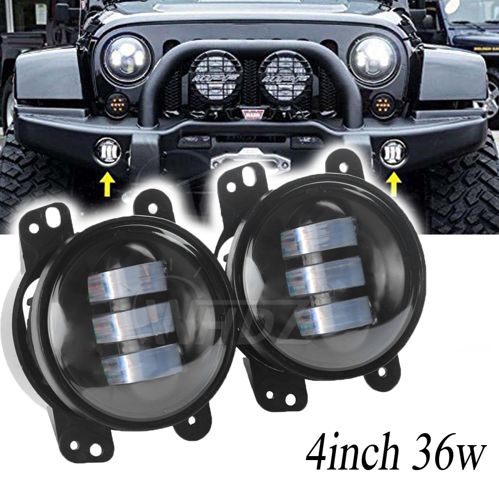Round 4 Inch Led Fog Light Headlight 30W Projector lens With Halo DRL Lamp for Jeep Wrangler Dodge Chrysler Front Bumper Lights<br>