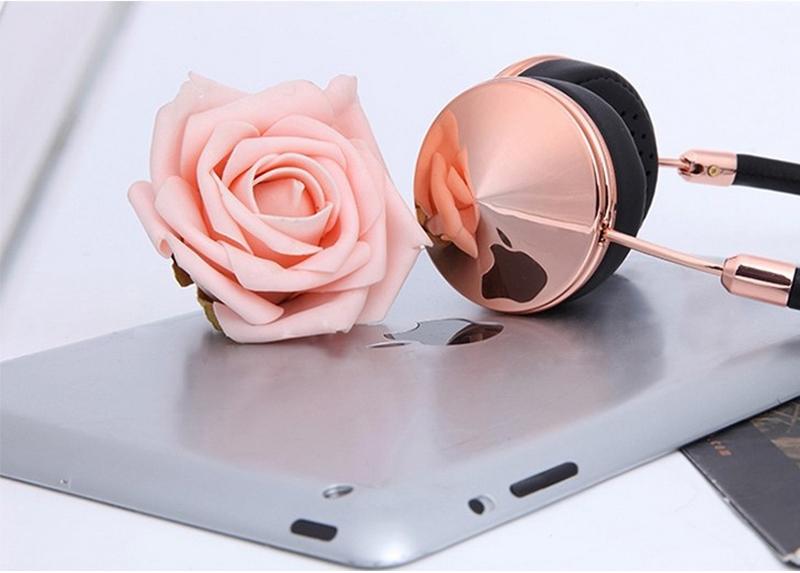 Liboer Beautiful Headphones Dynamic Headband Rose Gold Headphones with Mic Wired Headset for Mobile Phone On-ear Headphone 14