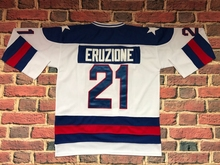 #21 Mike Eruzione 1980 Miracle On Ice USA Hockey UNSIGNED CUSTOM Jersey WHITE and BLUE