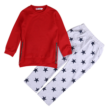 2Pcs side zipper girls clothes set Toddler Kids Baby Girls Stars T-shirt Tops+ Long Pants Outfits Set Clothes 1-6 T