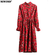 Buy MIWIMD 2018 New Fashion Women's Spring Autumn Vintage Loose Stand Long Sleeved Printing Elastic Waist Corduroy Dresses Big Size for $17.99 in AliExpress store