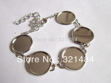 Wholesale 100piece/lot 18mm Rhodium plated Bezels Cameo Base Cabochon Setting Brass Cuff Bracelet Blanks