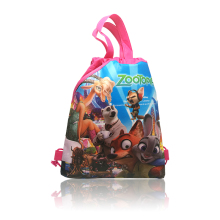 New style 1pcs School Drawstring Backpack Zootopia Hot Movie Cartoon 34*27cm Bags School Supplies Kids Party Gift High Quality