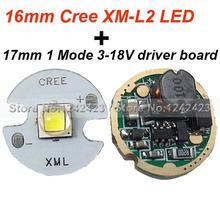 16MM Cree XM-L2 U2 LED Star 1A Cool white + 17mm flashlight Circuit Board Cree XM-L/ Cree XML2 Driver Board 1 Mode 3-18V