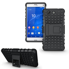 Dual Layer Armor Case For Sony Xperia Z3 compact Z3 mini M55W Case TPU+PC Shockproof with Stand For Sony Z3 compact Cover