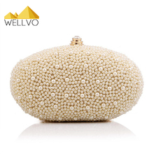 Ladies Beading Gold Day Clutch Pearl Rhinestone Evening Hand Bag Chain Shoulder Bags Bridal Wedding Purse bolsas mujer XA629C