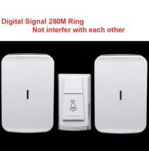 wireless door bell with 2 receiver & power by AA battery doorbell Waterproof 280 Meter door chime door ring digital signal ring