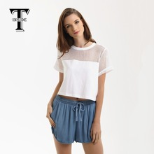 T-INSIDE 2016 Brand New Fashion Midriff High Quality Sexy Hollow-Out Short-Sleeve Top Shirts with Patchwork for Tees Women(China)