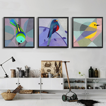 Three Style Birds Geometric Pattern Typography Print Home Decoration Nordic Art Canvas Painting Wall Picture for Kids Room Decor(China)
