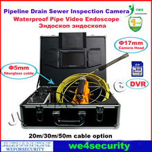 Newest Pipeline Inspection Camera Video Borescope Drain Sewer Endoscope 30 Meter 5mm Cable 17mm Camera Head 7'TFT Monitor