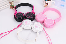 Super Cute 3.5mm Cartoon Headphone Hello Kitty Headphones With Mic For Mobile Phone MP3/MP4/Computer for iPhone Samsung Xiaomi