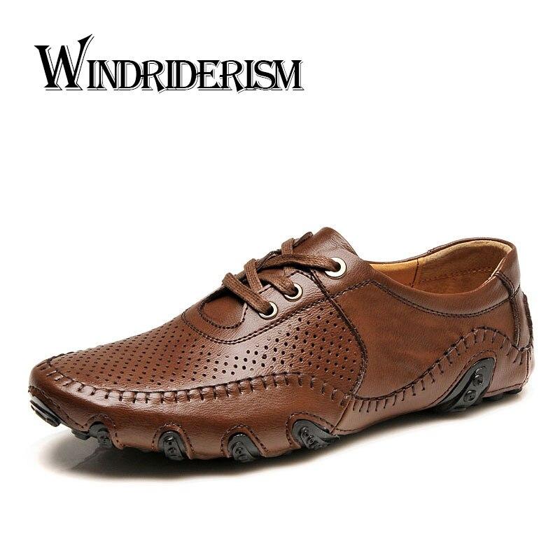 Fashion Designer Genuine Leather Men Flat Shoes Spring Autumn Casual Flat Pisos Para Hombres Flats Hommes Pisos Para Hombres<br>