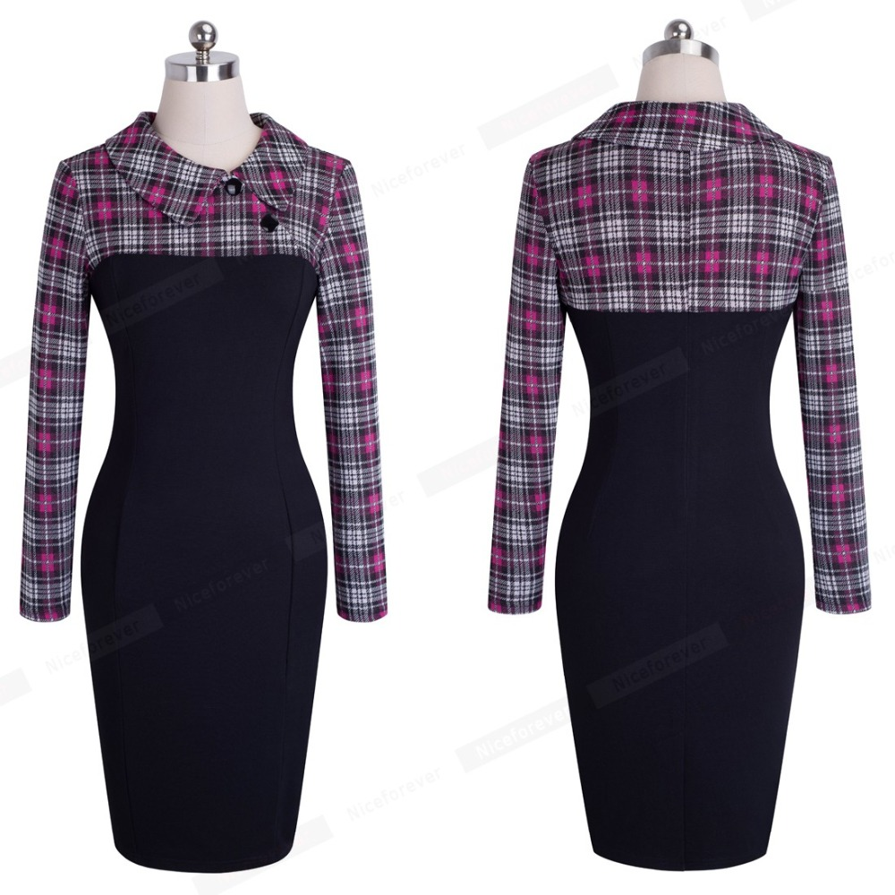 Nice-forever Elegant Vintage Fitted winter dress full Sleeve Patchwork Turn-down Collar Button Business Sheath Pencil Dress b238 25