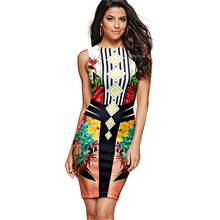 2017 Fashion Summer Women Dress Party Brand Formal Female Clothes Work Office Ropa Vestidos de Festa Vintage Pencil Dress Print