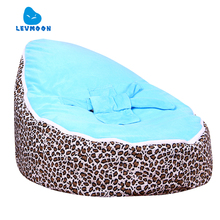 Levmoon Medium Leopard Print Bean Bag Chair Kids Bed For Sleeping Portable Folding Child Seat Sofa Zac Without The Filler(China)