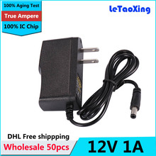 Wholesale 50pcs/Lot AC DC 12V Power adapter 12V 1A power supply adaptor With IC Protection US UE Plug DHL Free shipping