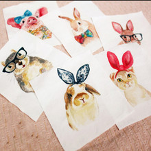 New 12*12CM Cute rabbit owl Print Hand Dyed Cotton Linen Fabric Sewing DIY Patchwork Hand Embroidery Quilting Bags(China)