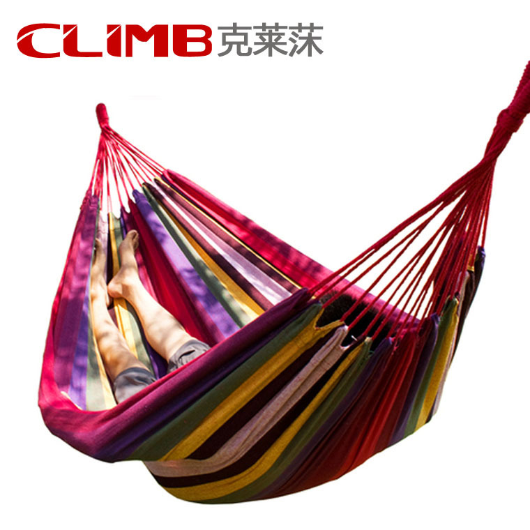 195*150cm Muti-color Portable Travel Outdoor Camping Tourism Cotton Rope Swing Fabric Stripes Single Leisure Folding Hammock<br>