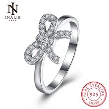 INALIS New Collection 925 Sterling Silver Bow-knot Butterfly Rings Clear CZ Cute Romantic Ring Fine Jewelry Gift