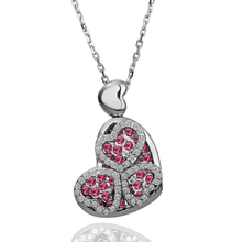 ZHOUYANG N105 Heart Crystal Necklace Silver Color Fashion Jewellery Nickel Free Necklace Rhinestone Crystal Elements(China)