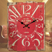 TUDA Free Shipping Japanese Grocery 30x40cm Wall Clock Antique Wooden Wall Clock American Style Vintage Square Clock(China)