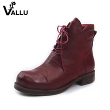 Leather Boots Shoes Woman Latest Hot Sell Ankle Lace-up Boots Ladies Genuine Leather Thick Heel Vintage Zipper Women Shoes(China)