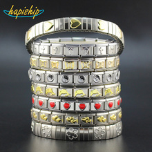 Hapiship 19 Style Fashion Women/Men Jewelry Blue Yellow Heart Flower Cross Dolphins 316L Stainless Steel Letter Bracelet Bangle(China)