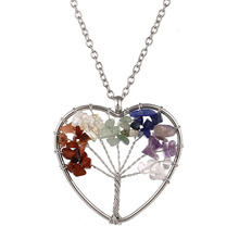 Itenice fashion jewelry classic trendy new style life tree with root rhinestone nature stone rong heart necklaces for women