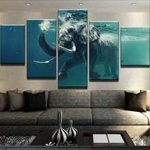 5 Panels HD ELEPHANT SWIMMING  Canvas Prints Painting Wall Art 5 Pieces Picture Panels Poster For Living Room