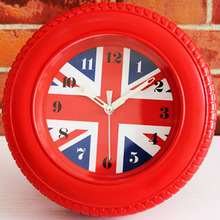3D Wheel Fashion Tyre Red Digital Wall Clock United Kingdom Flag Desk Table Clock Alarm Clock Silent Non-ticking Wall Clock