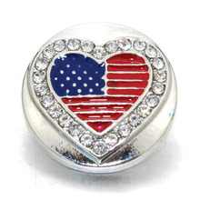 Buy 10 pcs/lot New Snap Jewelry Rhinestone American flag 18MM Snap Buttons Vintage Alloy Snap fit Snap Bracelet 060908 for $4.53 in AliExpress store