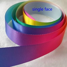 "1"" single/double face rainbow colors satin ribbon for DIY work.red orange yellow green blue purple"