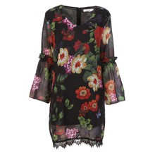 Vintage Female Dresses Women Long Sleeve V-Neck  Floral Print Dress Loose Lady Chiffon Lace Mini Dres Vestidos