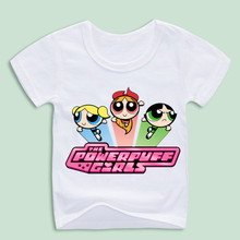 Ready Stock,Summer Fashion Kids T shirt Cartoon POWER PUFF GIRLS Printing T-shirts Children Short Sleeve Casual o Neck Shirts(China)