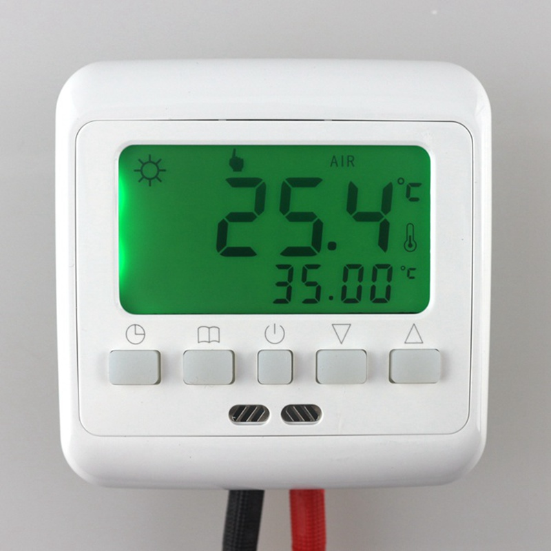 BYL104B Weekly Temperature Controller Programmable Underfloor Heating Thermostat Touch Screen Green LCD Backlight with Sensor<br><br>Aliexpress