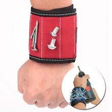 Sports Safety 13.8'' Magnetic Wristband Wrist Support Band Tool Belt Bracelet Nail Screw Kit Set Red Color