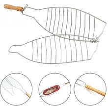 1PC Barbecue Meshes Camping Grill Rack BBQ Clip Folder Grill Single Meat Fish Vegetable BBQ Tool Wooden Handle Hinged Basket
