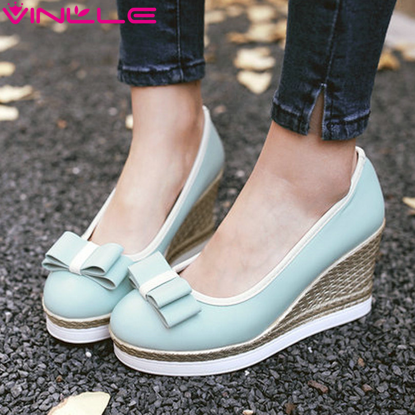 VINLLE 2017 Women Pumps Round Toe Platform Woman Shoes Wedges High Heel Sweet Bow tie Women Spring Autumn Shoes Big Size 34-43<br><br>Aliexpress