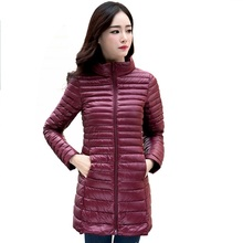Waugh . First  Women Winter Coat Ultralight Slim 90% White Goose Down Jackets Female Long Down Coat Portable Warm Outerwear