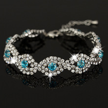 Wholesale Gold & sliver plated Personalized Rhinestone Crystal String Charms Chain Link Bracelet for women B013