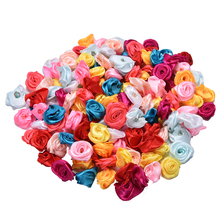 100Pcs Mix Color Rose Flower Handmade Satin Rose Head Wedding Scrapbooking Decoration Sewing Supplier Accessory(China)