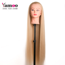 Professional 80cm hairdressing dolls head very long yaki hair Female Mannequin Hairdressing Styling Training Head Mannequin Head(China)
