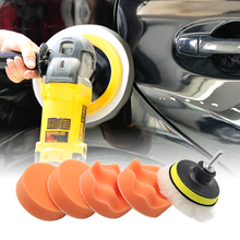 7Pcs 3 Inch Auto Tool Polishing Buffing Pad Set Beauty Waxing Drill Adapter Wheel Curved Wool Buffer Sponge for Car