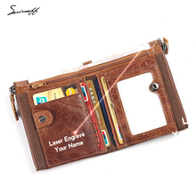 Genuine Leather Men Wallet with Coin Pocket Custom Name Small Luxury Designer Cowhide Short Purse Genuine Leather Wallet Male(China)
